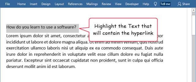 Highlight the hyperlink text