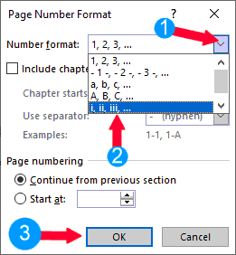 Select the page numbering style