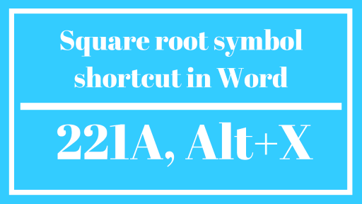 Square root symbol in Word