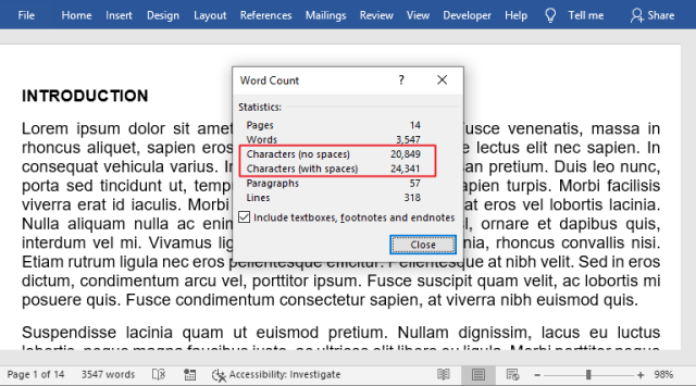 Count characters in MS Word