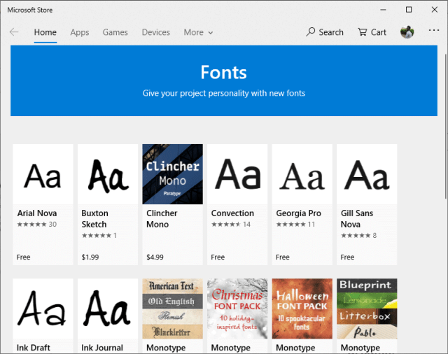 List of Fonts in Word