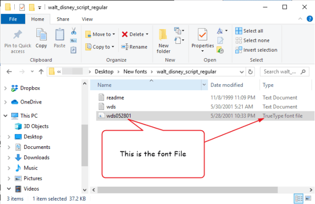 Go to the folder with the downloaded font file