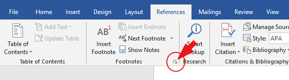 Click on More options in the Footnote group under the References tab
