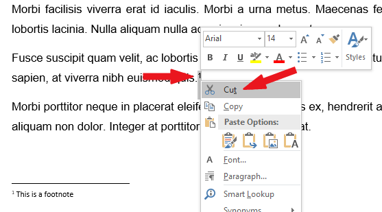Select and delete the footnote mark in the main body text