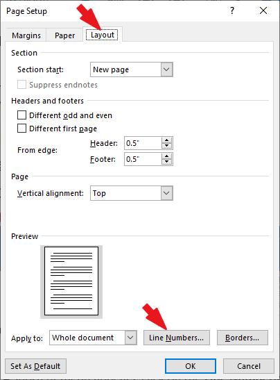 Page setup Dialog appears