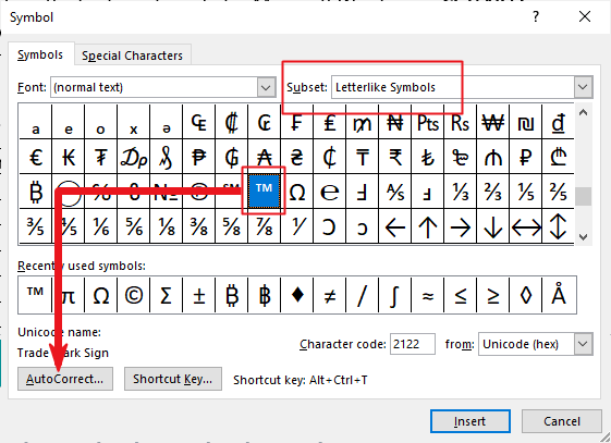 creating your own custom tm symbol shortcut in Word