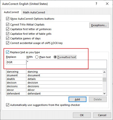 replacing the ° sign with a custom shortcut