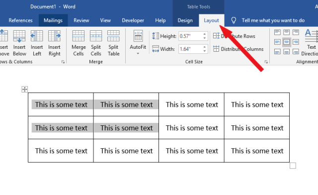 Click in the table cell containing the text