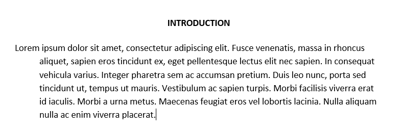 hanging indent in word