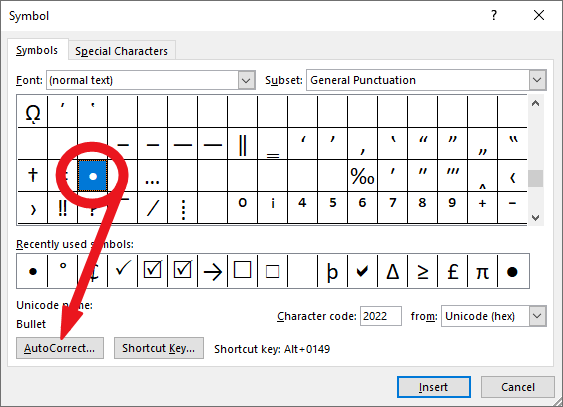 click on the bullet symbol, then the Auto Correct button