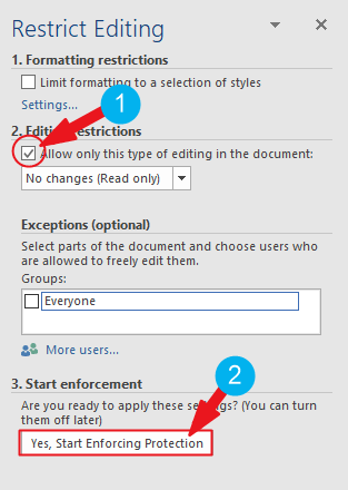 how to make a Word document read only