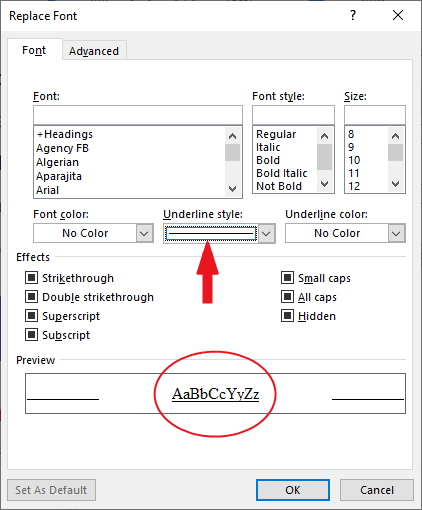 the Replace Font dialog box