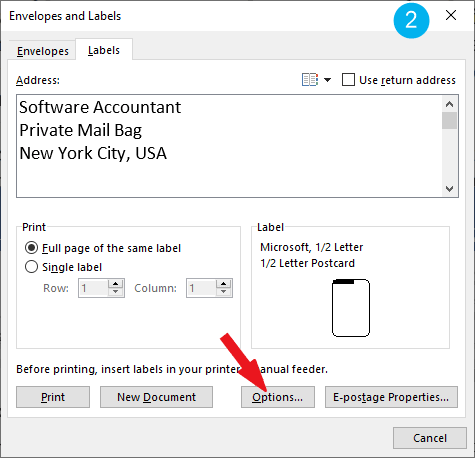 click on the Options button - print labels in Word