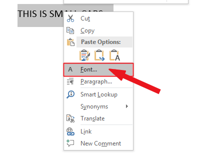 Right click on text, then click on Font in the shortcut menu