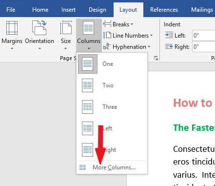 split pages in Word using two or three columns