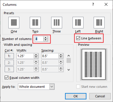 how to split page in Word into two columns