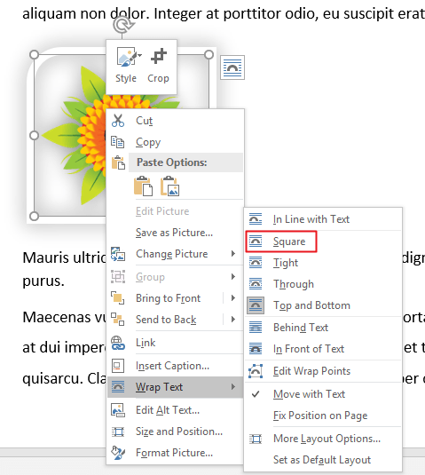 wrap text in word square option