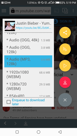 Select the MP3 file type to convert and download