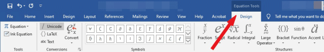 Equation tools design tab
