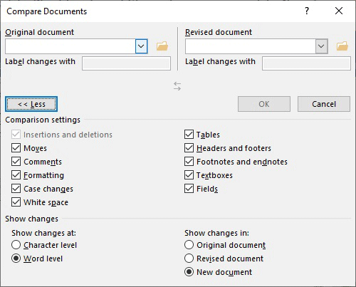 Click More for advanced document comparison settings