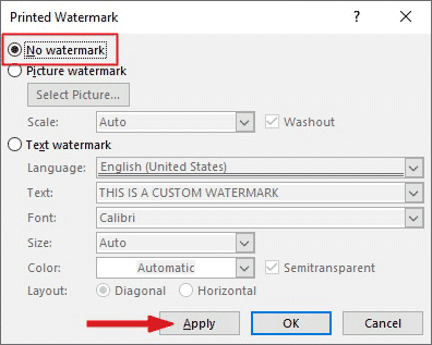 use no watermark option to remove watermars from Word