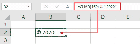 copyright function in Excel