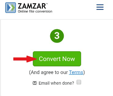 tap the Convert Now button