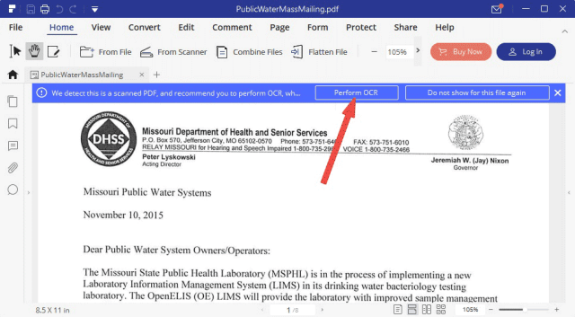 click on the Perform OCR to copy text from scanned pdf
