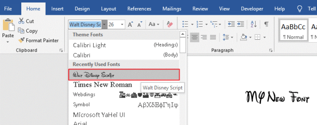 The install font will be added to your Windows 10 library of fonts