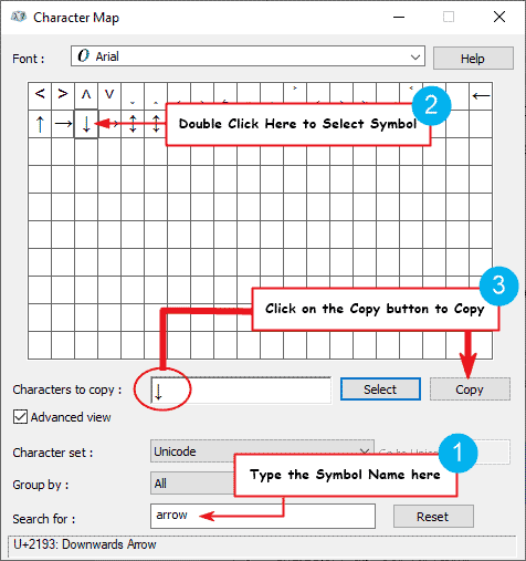 copy and paste the down arrow or downward arrow sign