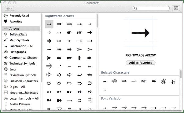 Inserting Left arrow symbol on Mac