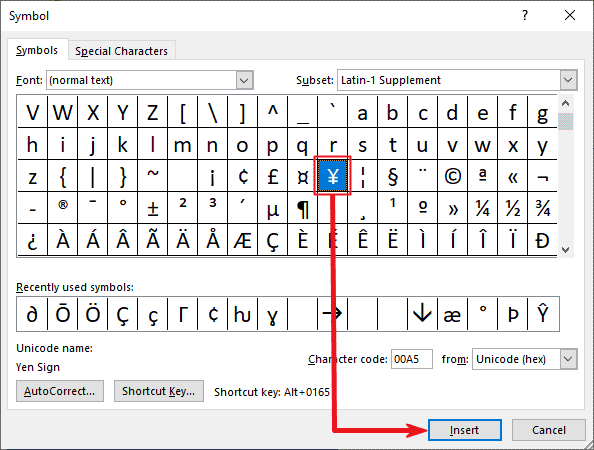 Inserting Yen symbol in Word or Excel