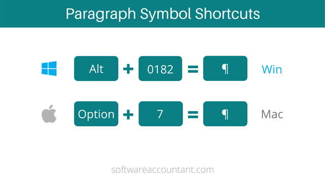 Paragraph symbol keyboard shortcuts for windows and mac