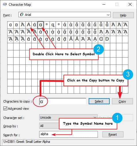 copy and paste alpha symbol