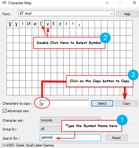 copy and paste the Gamma sign using Windows Character Map