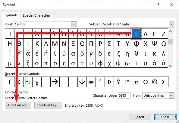 creating Custom Gamma symbol
