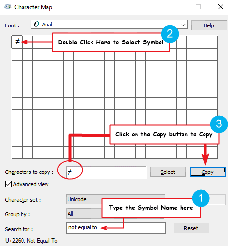 copy equal to symbol in Windows character map