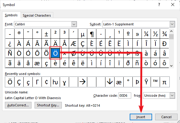 insert o with two dots or umlaut in MS Office such as Word or Excel