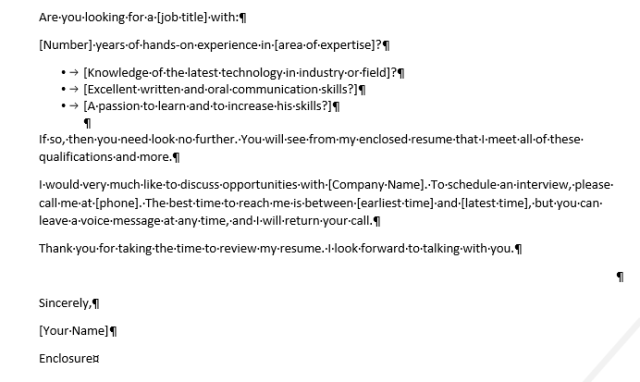 Paragraph marks showing in a Word document