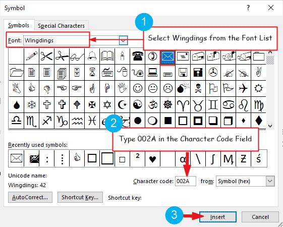 Insert envelope or mail symbol in Word