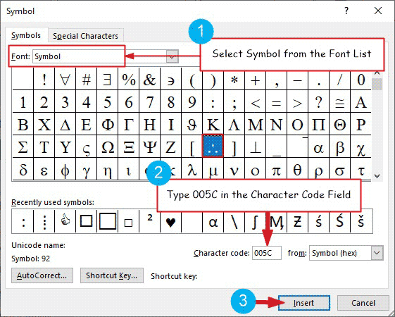 Inserting the therefore symbol in Word