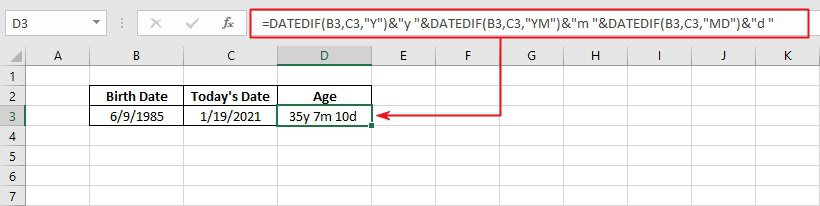 calculate age in Years, months and days using Excel formula and functions