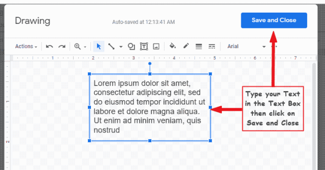 inserting text into Google Text box and saving it