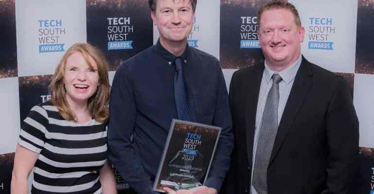 Photo of Robert Wiltshire accepting a tech south west award