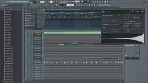 Screenshot of using the FL Studio software to compose a song
