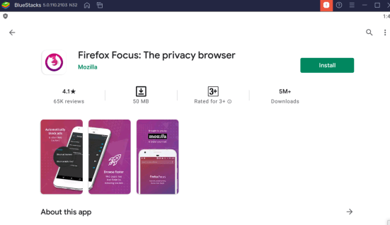 install Firefox focus for PC