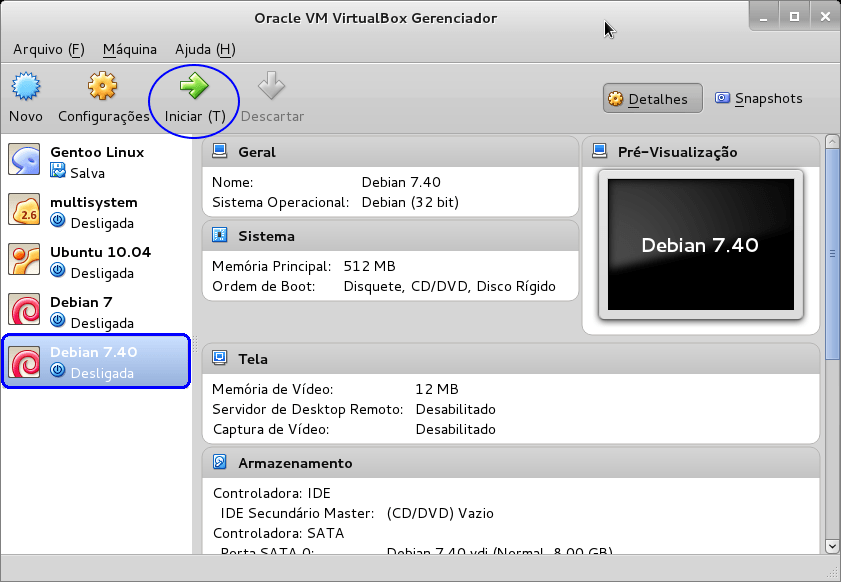 Oracle VM VirtualBox - Gerenciador