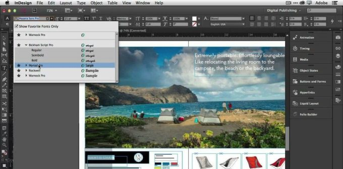 Adobe InDesign CC 2017 sea view editing