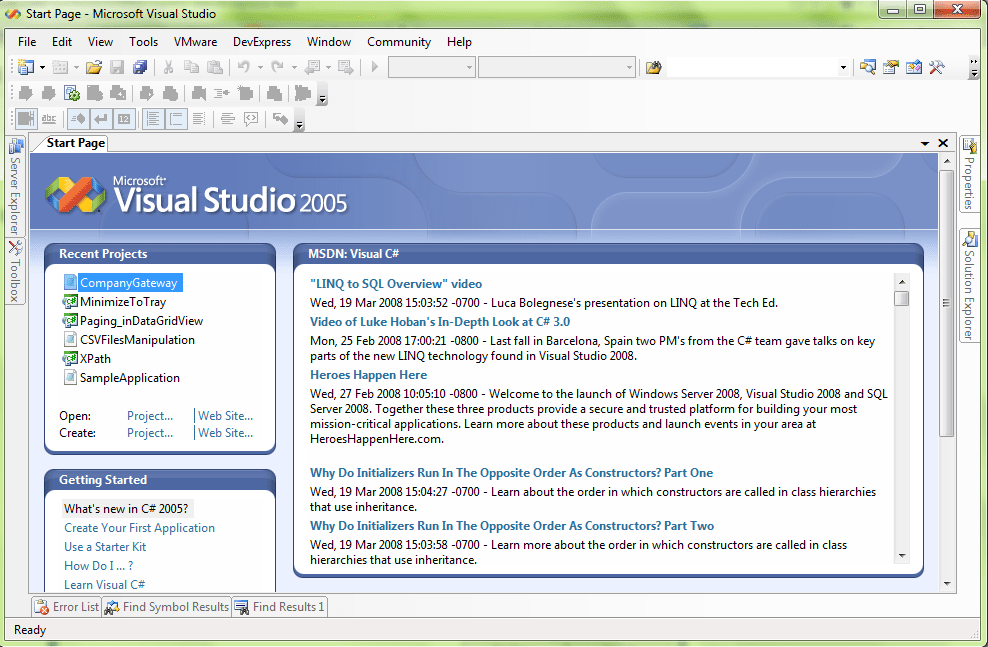 Visual Studio 2005 home screen
