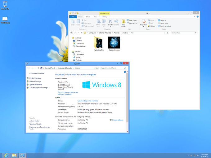 Windows 8 Professional desktop screen